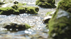 SLOW MOTION CLOSEUP: Spring river flowing between the mossy rocks - stock footage