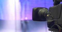 Broadcast camera operator live on stage Stock Footage