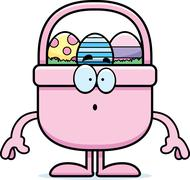 Stock Illustration of Surprised Cartoon Easter Basket