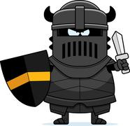 Angry Cartoon Black Knight - stock illustration