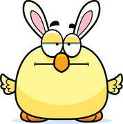 Bored Cartoon Easter Bunny Chick Stock Illustration