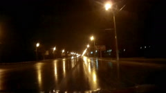Night Rainy Road Stock Footage
