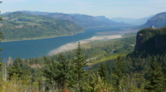 Columbia River Gorge Crown Point Wide - stock footage