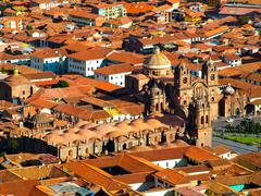 Aerial view of Cusco Cathedral Stock Photos