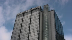 Tall modern building in central Gothenburg Stock Footage