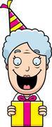 Cartoon Grandma Birthday Present - stock illustration