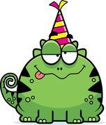 Cartoon Lizard Drunk Party - stock illustration