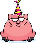 Cartoon Pig Drunk Party - stock illustration
