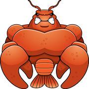 Angry Cartoon Muscular Crawfish - stock illustration
