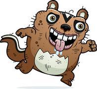 Cartoon Ugly Chipmunk Running Stock Illustration