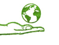 Planet  Earth in the hand Stock Illustration