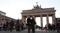 Brandenburger gate in Berlin time lapse Stock Footage