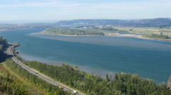 Columbia River and Gorge Looking West Stock Footage