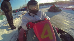 Winter view from the rotor karting helmet Stock Footage