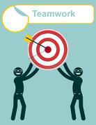Teamwork. Leadership. Focus your goal Stock Illustration