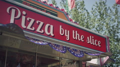 "A ""Pizza by the slice"" cart Stock Footage"