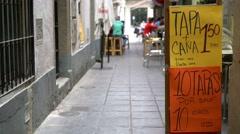 Colorful tapas menu in Granada, Spain. Stock Footage