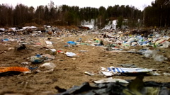 Killed forest. Rubbish dump in woods. North Russia Stock Footage