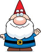 Waving Cartoon Gnome Stock Illustration
