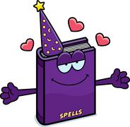 Cartoon Spell Book Hug - stock illustration
