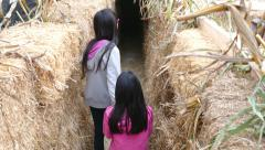 Scared Girls Walk Through Haalloween Hay Stack Maze Stock Footage