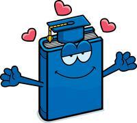 Cartoon Textbook Hug - stock illustration