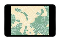 tablet map - stock illustration