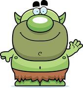 Stock Illustration of Waving Cartoon Goblin