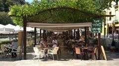 """Restaurants in the popular """"Paseo de los Tristes"""".  Granada, Spain. Stock Footage"""