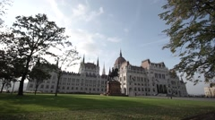 Hungarian parliament from a distance Stock Footage