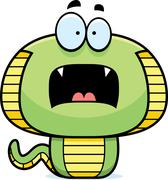 Scared Cartoon Cobra - stock illustration