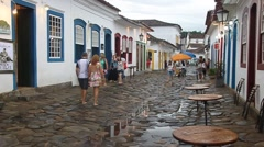 Narrow street an old colonial town Paraty Stock Footage