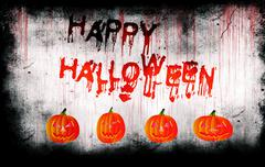 Happy Halloween painted on bloody wall with pumpkins - stock illustration