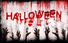 Halloween painted on bloody wall with scary hands - stock illustration