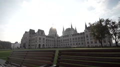 Hungarian parliament in the sun Stock Footage