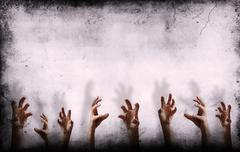 Stock Illustration of grungy wall with scary hands