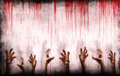 bloody wall with scary hands - stock illustration
