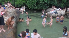 People enjoy natural swimming pool Rio de Janeiro state, Brazil. Stock Footage