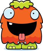 Hungry Cartoon Fluffy Monster Stock Illustration