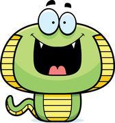 Happy Cartoon Cobra - stock illustration