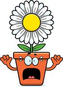 Scared Cartoon Flowerpot Stock Illustration