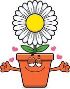 Cartoon Flowerpot Hug - stock illustration