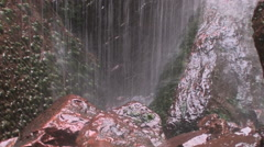 a small waterfall showers down on mossy rocks at Zion National Park - stock footage