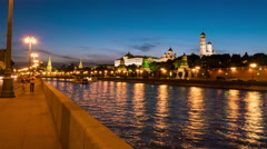 Walking down the Moscow city embankment Stock Footage