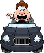 Stock Illustration of Cartoon Boss Driving Waving