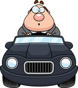 Stock Illustration of Cartoon Boss Driving Surprised