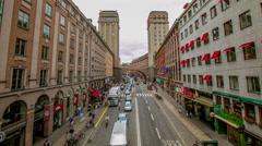 Kungsgatan, a major street in Stockholm, Sweden Stock Footage
