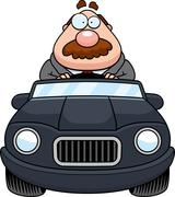 Stock Illustration of Cartoon Boss Driving