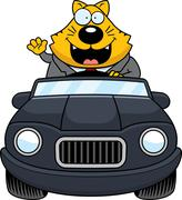 Stock Illustration of Cartoon Fat Cat Driving Waving