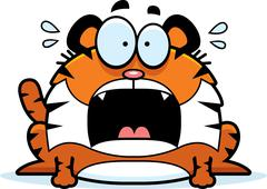 Scared Cartoon Tiger Stock Illustration